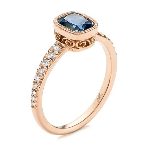 blue green sapphire engagement custom blue green sapphire and engagement ring 103606