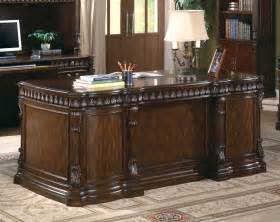 Best Executive Desk Traditional Rich Brown Double Pedestal Executive Desk With