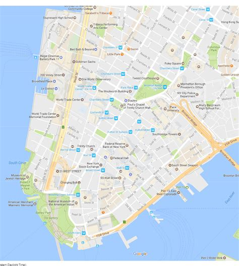 map of manhattan new york city financial district neighborhood new york city map