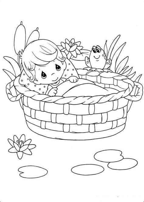 Baby In Basket Of Precious Moments Child Coloring Precious Moments Baby Coloring Pages Free