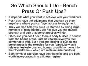 what are the benefits of bench press push ups vs bench press