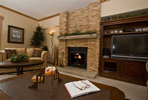 fireplace in living room luxury condo vacation rental in breckenridge colorado