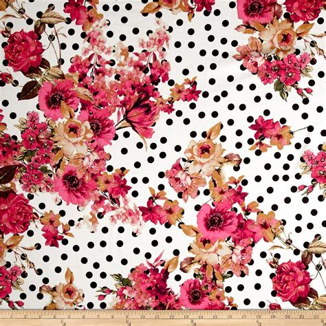 printable fabric material telio bloom stretch cotton sateen flower and dots print