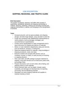 Shipping Clerk Description shipping receiving and traffic clerk description template sle form biztree