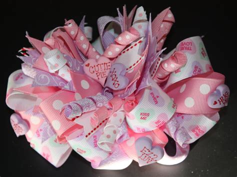valentines hair bows 3pinkribbons the top conversation hearts s