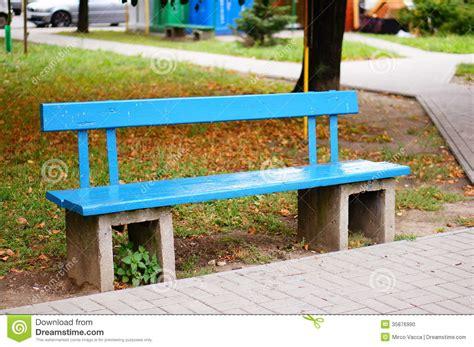 blue wood bench blue bench stock photo image 35876990