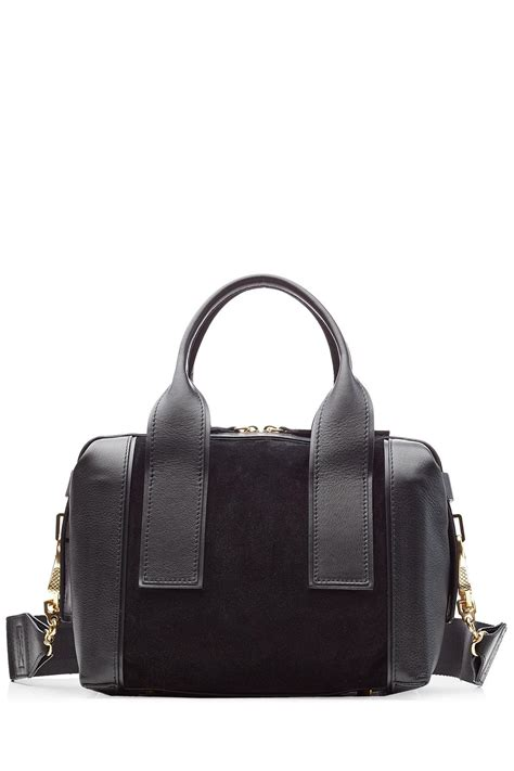 Hardy Suede And Metallic Leather Bag by Hardy Duffle Small Leather And Suede Tote In Black