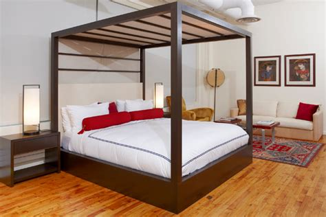 Headboard Canopy by Four Post Canopy Bed With Upholstered Headboard Modern