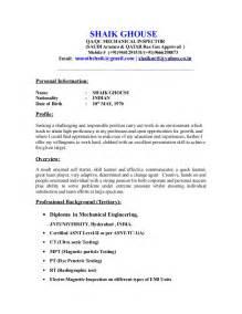 Cv For Qc Inspector Mechanical