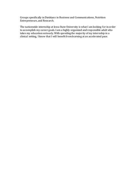 Dietetic Internship Mba by Nutrition Personal Statement
