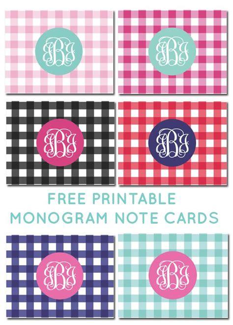 printable monogram note cards free printable monogram gingham note cards freeprintable