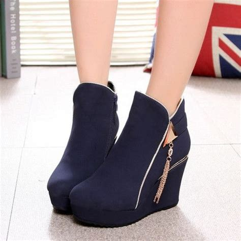 Wedges Boot Laser Trendy Krem womens trendy platform wedge boot dress shoes beautiful