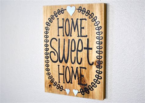 home sweet home wall decor painted wood sign word