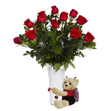 imagenes flores de otoño arreglo de 18 rosas rojas y oso disfrazado de mariquita