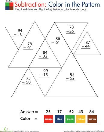 html pattern 2 digits color by number practice two digit subtraction 2