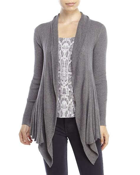 draped cardigans max studio petite draped open front cardigan in gray grey