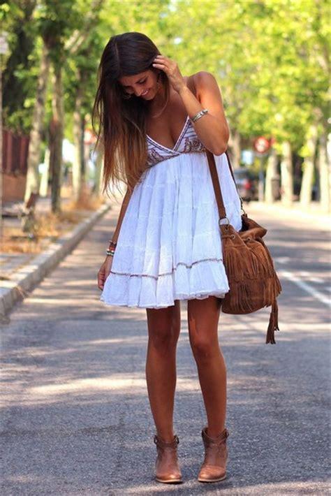 dress white dress boho dress boho brown bag bag