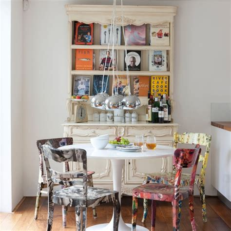eclectic dining room  hand painted chairs dining