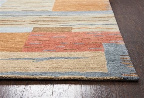 Leone Abstract Block Wool Area Rug In Gray Brown Red Blue Blue Grey Brown Area Rug