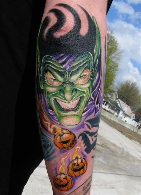 goblin tattoo designs pupkins and goblin on arm sleeve