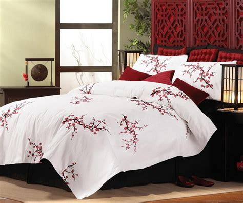 sakura oriental comforters new asian cherry blossom style king size comforter pillow shams bedding set ebay
