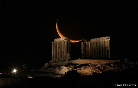 Poseidon Meteor Shower by Sounion Temple Of Poseidon Crescent Moon Astronomy