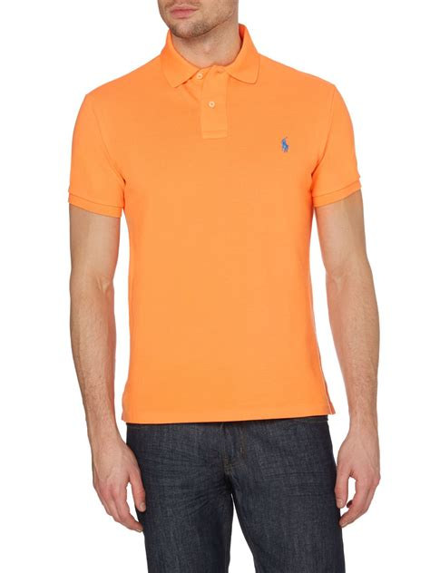 Basic Sweater Polos 2 polo ralph custom fit basic mesh polo in orange for lyst