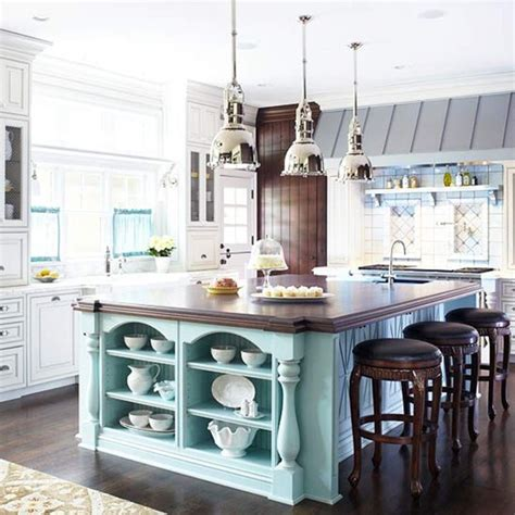 blue kitchen island bhg centsational style