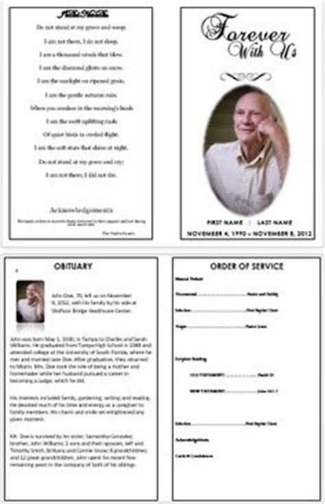 Memorial Programs Templates Funeral Templates 187 Memorial Cards For Funerals Funeral Program Secular Funeral Service Template