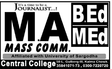 Mba In Mass Communication In Usa by Admission In Pakistan Mcom Mba Bcom Icom Ma Mass