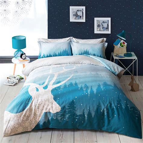 papa mima fashion tree deer blue forest bedding set 4pcs