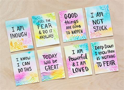 affirmation card templates diy watercolor affirmation cards