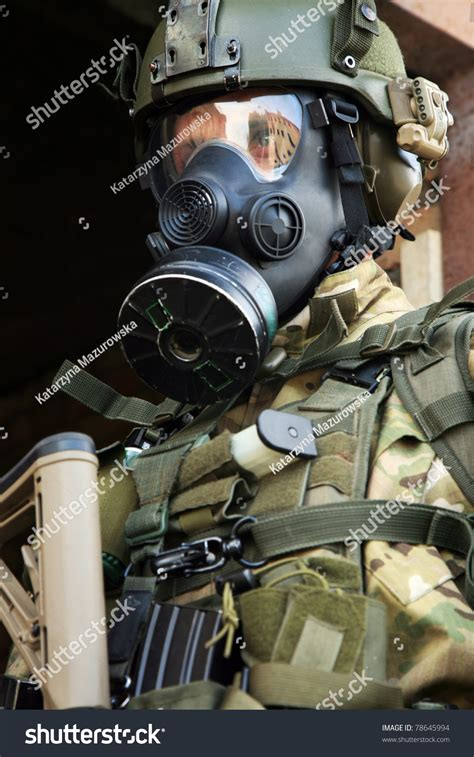 real tactical gear special forces soldier during a black tactical exercises