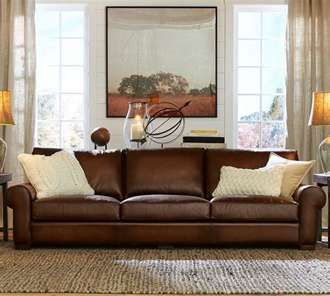 turner couch turner roll arm leather sofa pottery barn