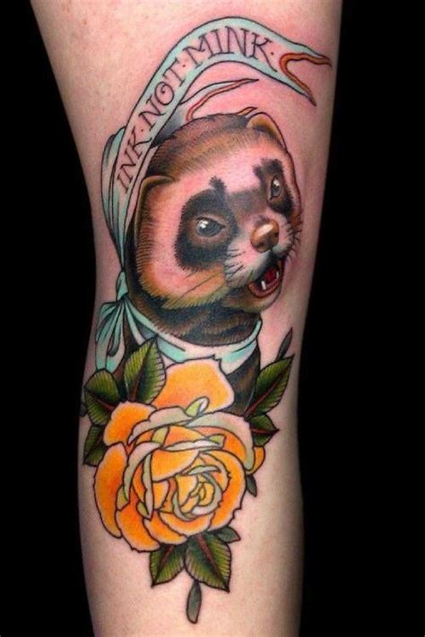 ferret tattoo traditional ferret animal tattoos