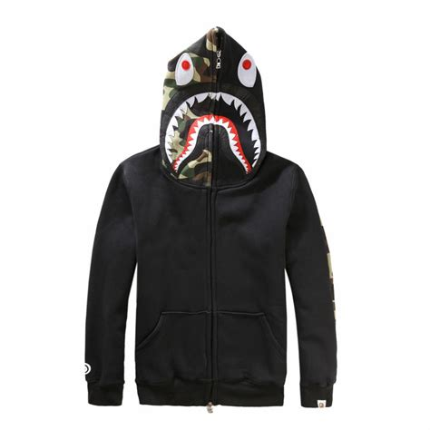 a bathing ape bape shark hooded hoodie camo zip jacket coat ebay