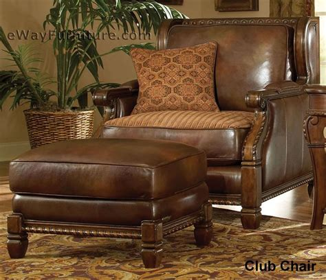 wood and leather chair with ottoman avebury manor wood trim leather and fabric club chair with