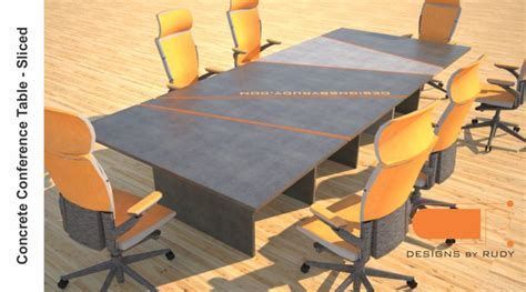 Concrete Conference Table Concrete Conference Table Sliced Design Geometric Series