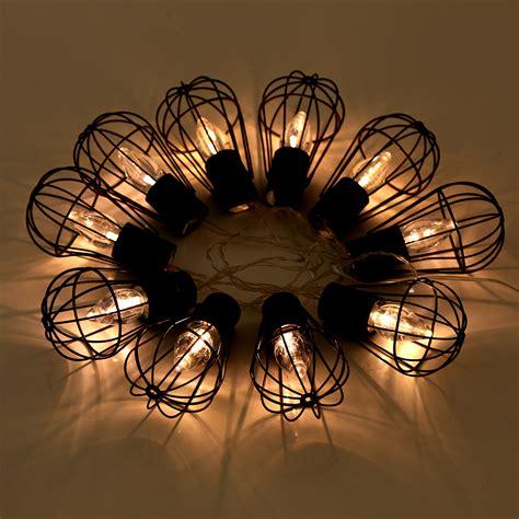 solar powered 10 led lantern string lights metal cage bulb