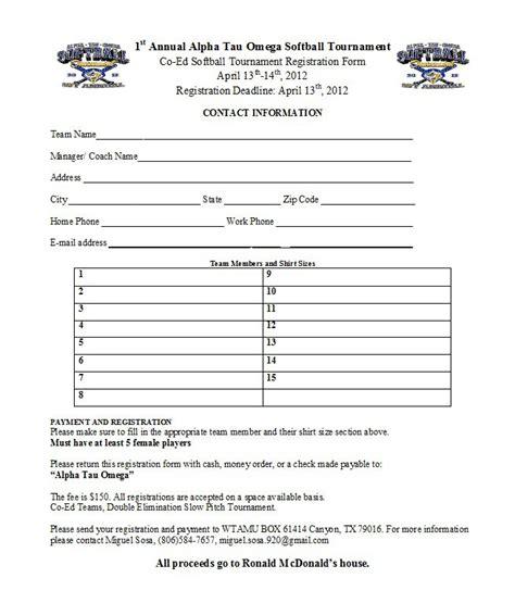 Wtamu Fraternity Alpha Tau Omega Holds 1st Annual Co Ed Softball Tournament Softball Tournament Registration Form Template