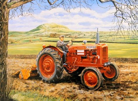 tractor painting beautiful print picture painting of tractor nuffield at work crop field farm ebay