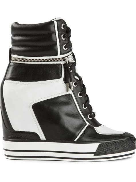 black and white wedge sneakers lyst dkny griffin logo varsity concealed wedge
