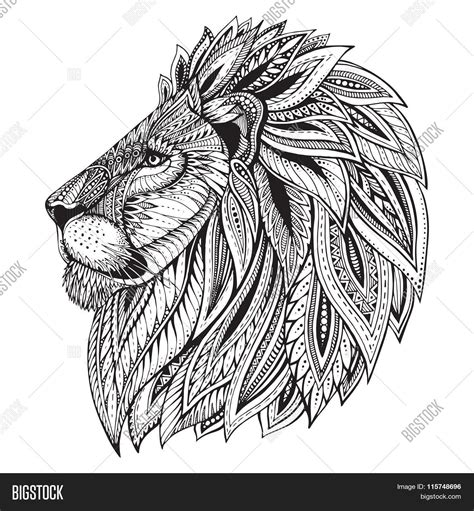 abstract lion coloring pages ethnic patterned ornate hand drawn head of lion stock