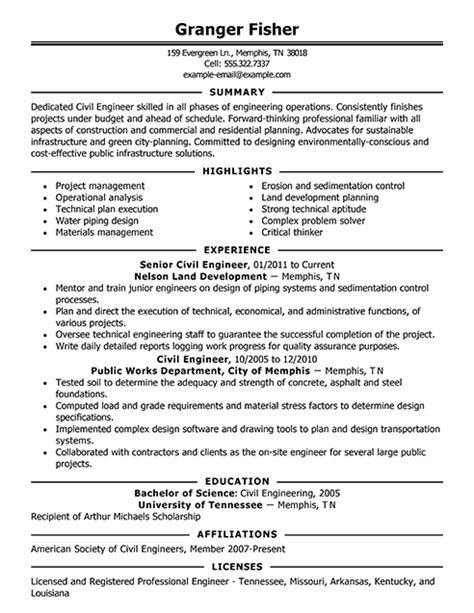 best resume exles for engineers best civil engineer resume exle livecareer