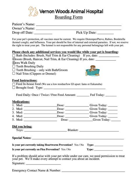Pet Boarding Form Vernon Woods Animal Hospital Printable Pdf Download Boarding Form Template