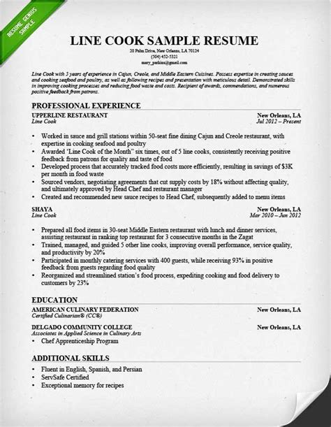 resume sous chef cover letter executive template line cook job