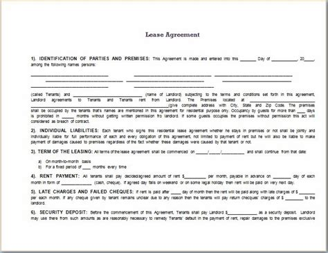 rental agreement template word lease agreement template word beepmunk