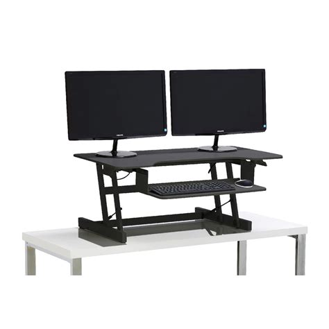 stand sit desks wynston sit stand desk large black ebay