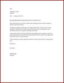 Resignation Letter Effective by Letter Sle Sle Resignation Letters To Formally Notify Resigning Resigning Letter For