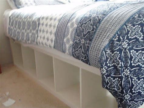 ikea bookcase bed frame expedit re purposed as bed frame for maximum storage